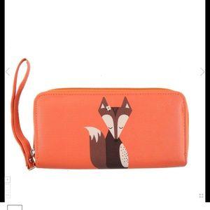 Cute Fox on an Orange full Zip around Wallet 🦊NWT